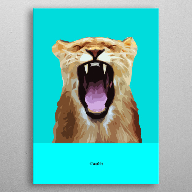 Computer graphic art print image file of young leon in geometric minimal style. metal poster