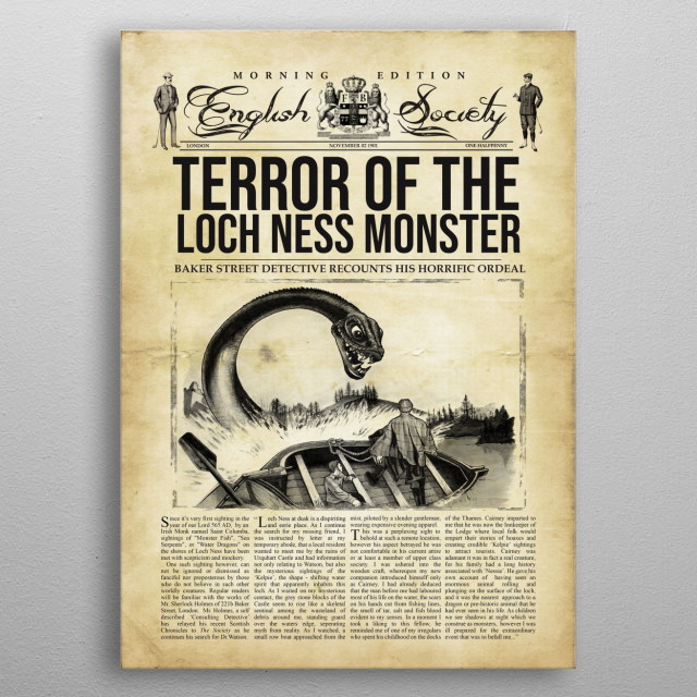 Sherlock Holmes investigates the Loch Ness Monster Newspaper article metal poster