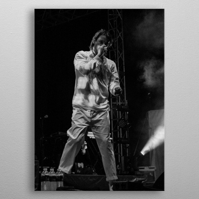 Photo of the lead singer of the band Judah and the Lion. metal poster