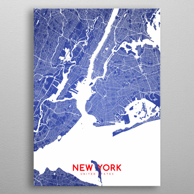 New York map (flag colors edition 2) metal poster