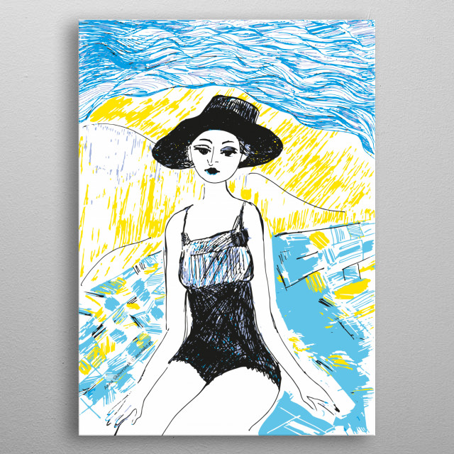 Girl on the seaside, woman on the holiday, lady wearing a hat, original Illustration, drawing, painting, design. All rights reserved. metal poster