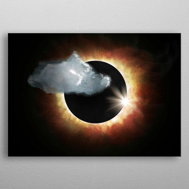 illustration of eclipse ,, black background ( darkness) where even if the sun is covered the light can be seen behind the darkness    metal poster