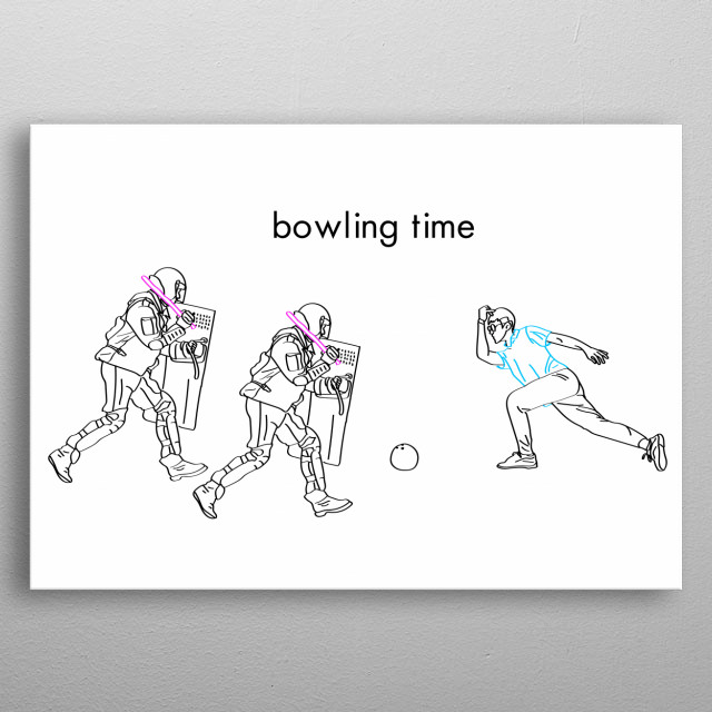 The illustration Bowling time from personal collection. The fight between generetions. metal poster