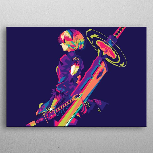 Nier automata 2b pop art metal poster