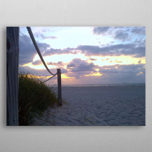 Photograph of beautiful seascape and rope fence. metal poster