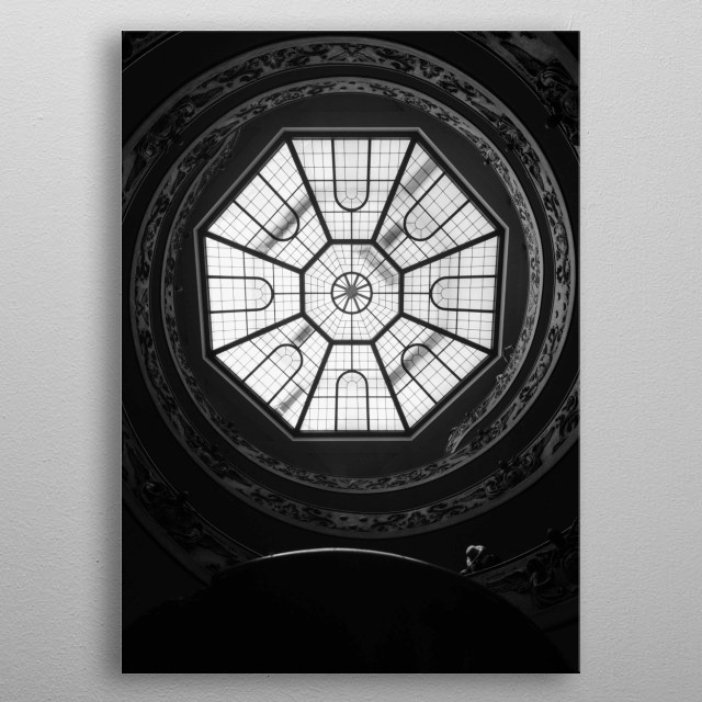 Looking up at the rotunda just at the entrance of the Vatican Museum, outside of Rome, Italy. metal poster