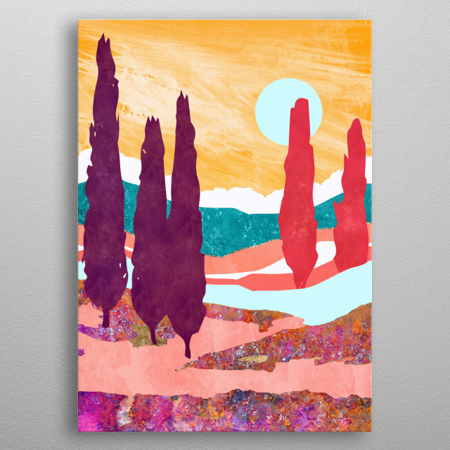 Abstract landscape with cyprus trees, mountains, stream and clouds metal poster