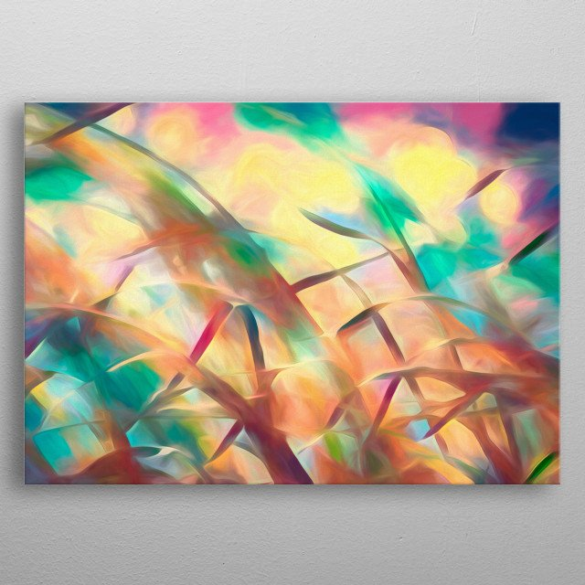 Dream between the grasses is the fourth painting in the summer breeze series. Full of motion, color and endless feeling of summertime. metal poster