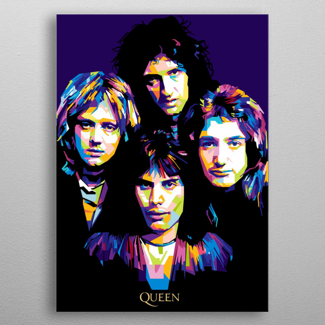 Queen are a British rock band that formed in London in 1970. Their classic line-up was Freddie Mercury (lead vocals and piano) metal poster