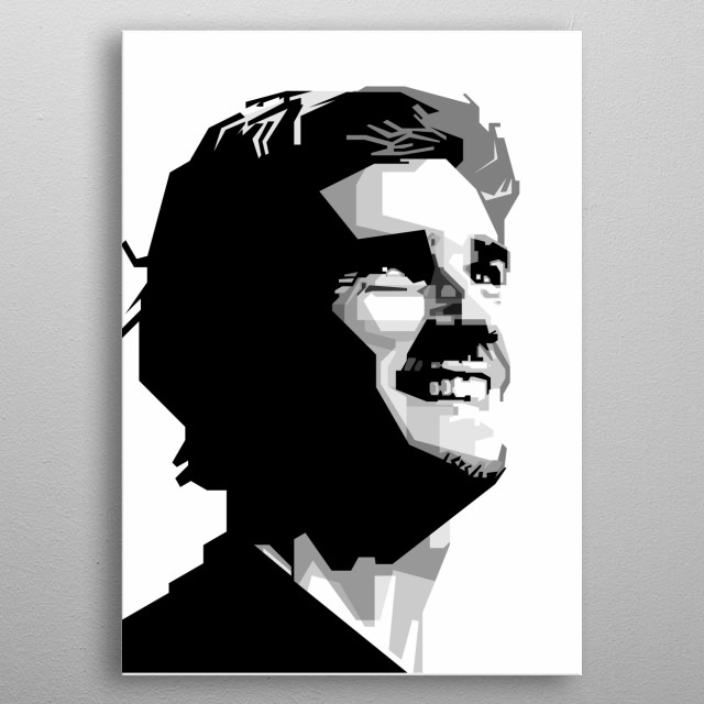 Grayscale Awsome design wpap pop art ilustration  metal poster