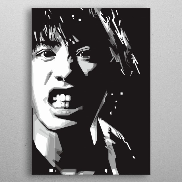 Grayscale Cool Portrait Design Graphic Ilustration metal poster