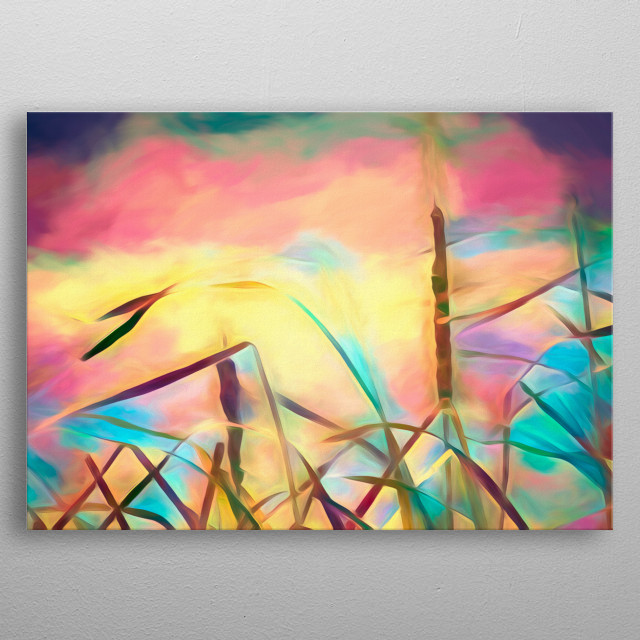 Between the wind is the third painting in the Summer Breeze series. Featuring a still moment of silence full of color and peacefulness. metal poster