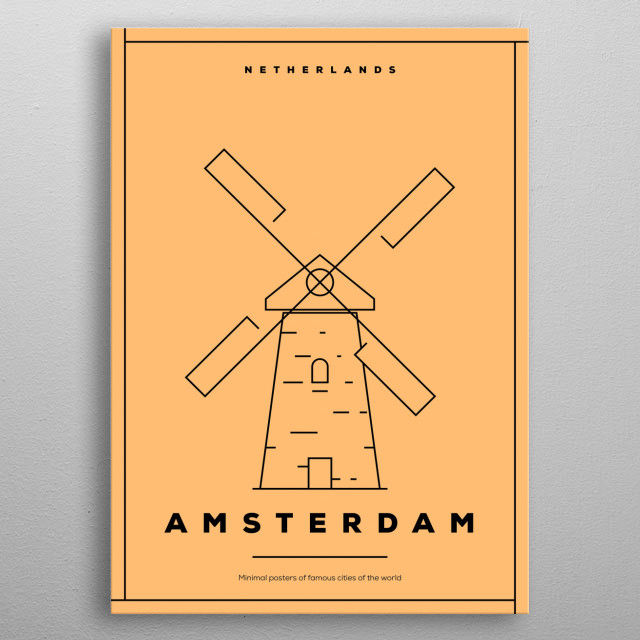 Amsterdam is the Netherlands' capital, known for its artistic heritage, elaborate canal system and narrow houses. metal poster