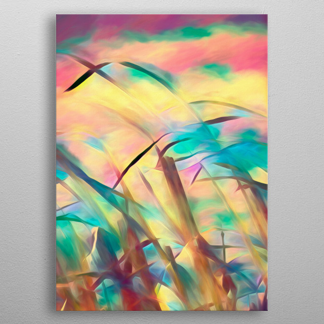 A series of four abstract paintings creating a endless summer of color and cool breezes in the field beside the ocean.  metal poster