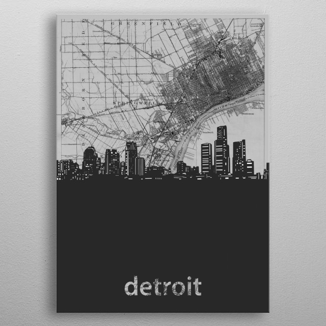 Detroit skyline inspired by decorative,vintage,grey,cartography,black and white,pop art design metal poster