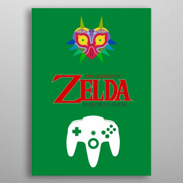 Minimalistic Illustration of Legend of Zelda Majora's Mask on the Nintendo 64 metal poster