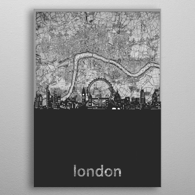 London skyline inspired by decorative,vintage,grey,cartography,black and white,pop art design metal poster