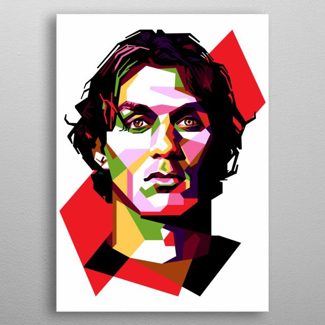 Portrait of Paolo Maldini. metal poster
