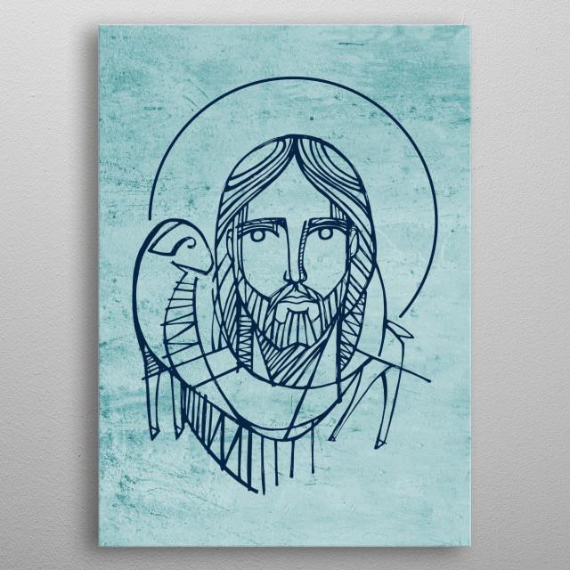 Hand drawn illustration or drawing of Jesus Christ Good Shepherd metal poster