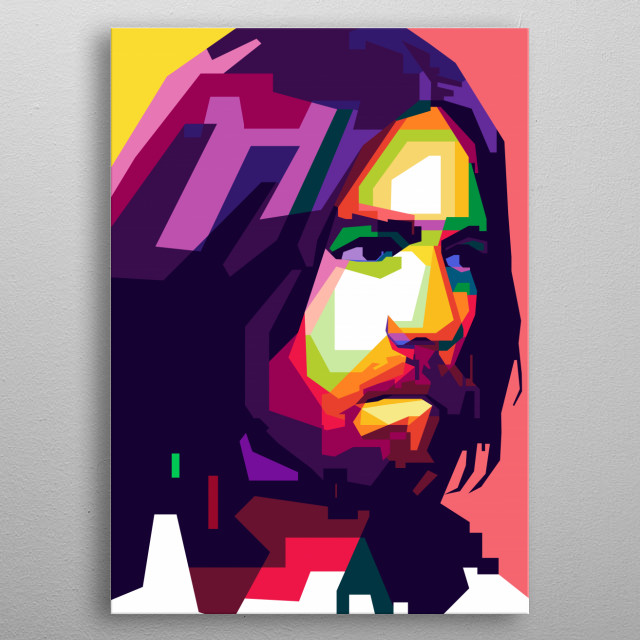 A pop art portrait of George Harrison  was an English musician, A lead guitarist of the Beatles  metal poster