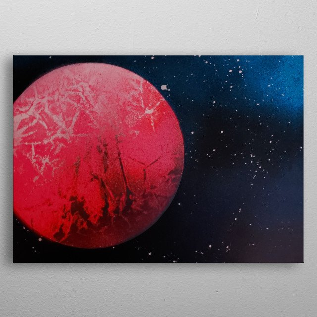 Pink Planet Abstract Space Spray Paint Art By Grim  metal poster