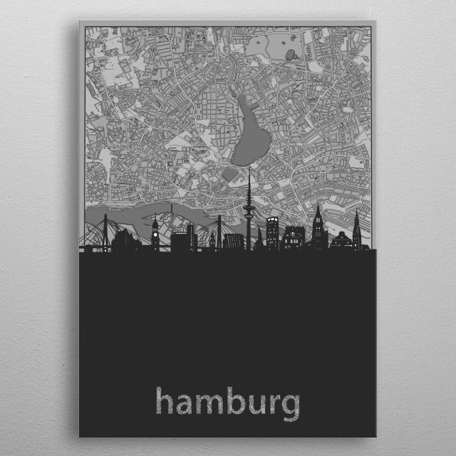 Hamburg skyline inspired by decorative,vintage,grey,cartography,black and white,pop art design metal poster