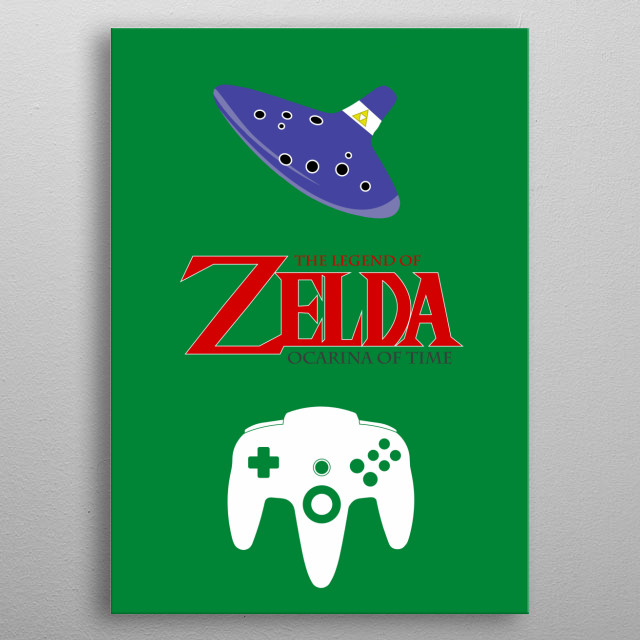 Minimalistic Illustration of Legend of Zelda Ocarina of Time on the Nintendo 64 metal poster
