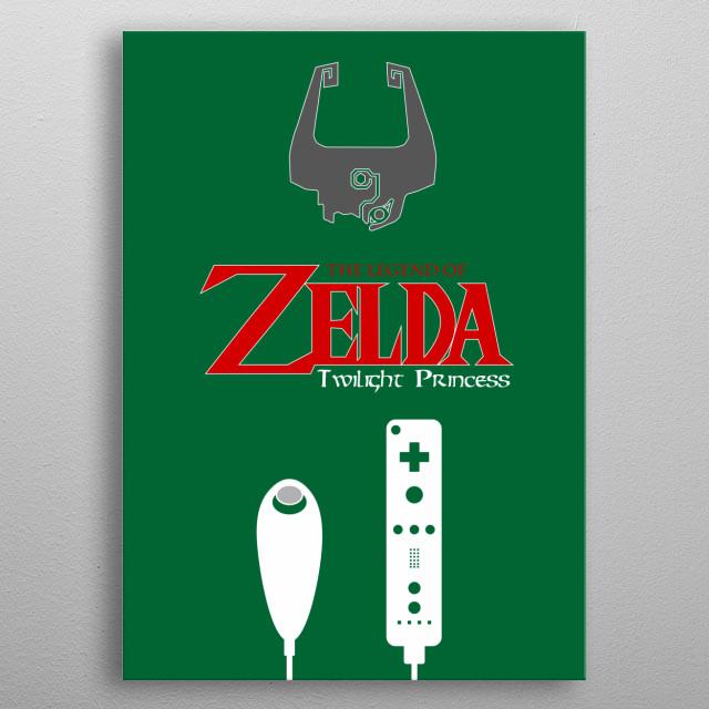 Minimalistic Illustration of Legend of Zelda Twilight Princess on the Nintendo Wii metal poster