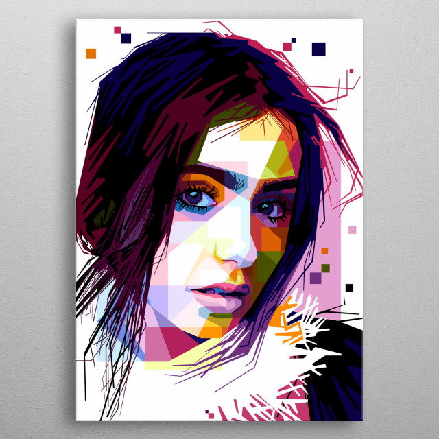 Portrait of Lily Collins metal poster