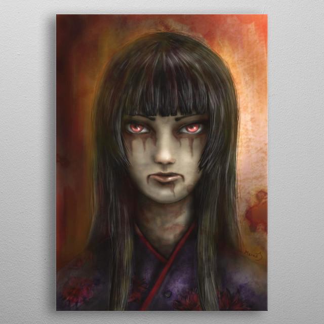 Digital art. My inspiration was Enma Ai from Jigoku Shoujo (Hell girl). metal poster