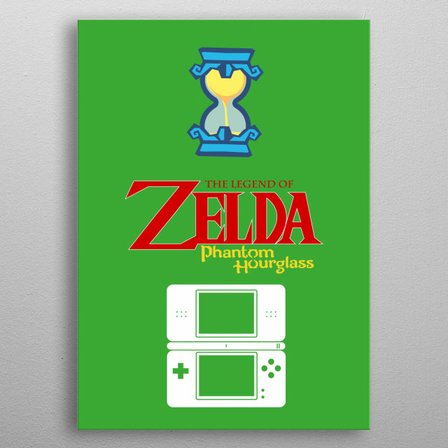 Minimalistic Illustration of Legend of Zelda Phantom Hourglass on the DS metal poster