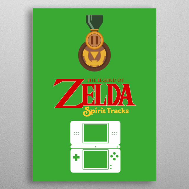 Minimalistic Illustration of Legend of Zelda Spirit Tracks on the DS metal poster