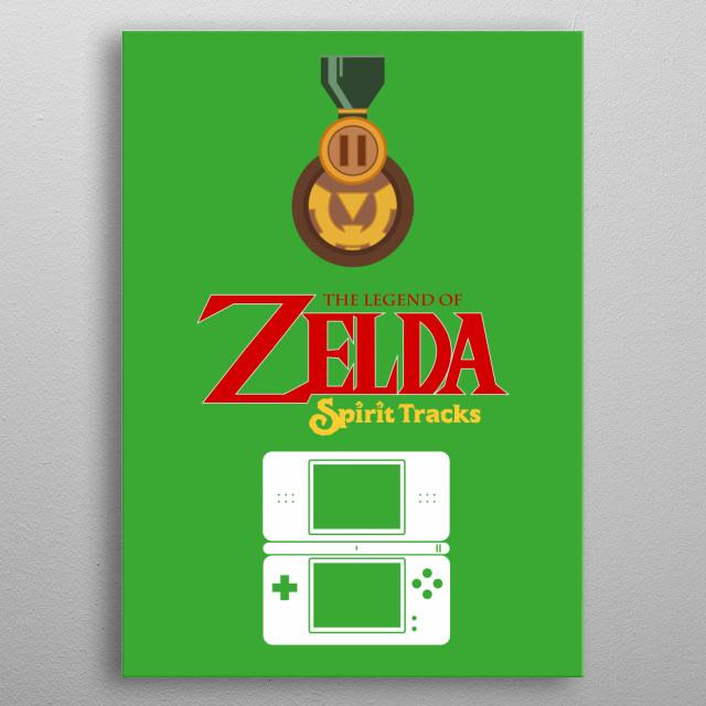 Minimalistic Illustration of Legend of Zelda Spirit Tracks on the DS metal poster