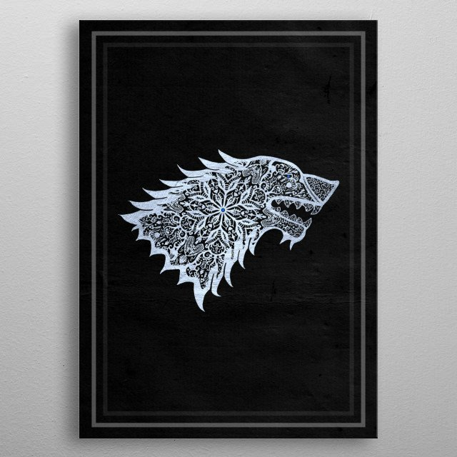 An ornate version of the House Stark sigil. metal poster