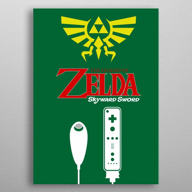 Minimalistic Illustration of Legend of Zelda Skyward Sword on the Nintendo WII metal poster