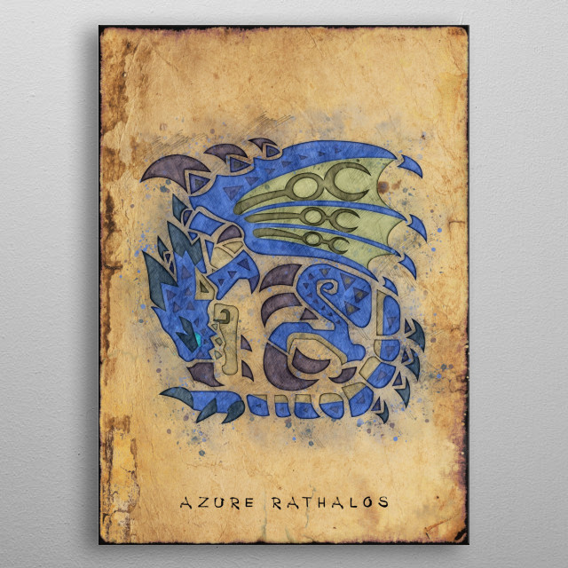 Monster Hunter World - Azure Rathalos Hunter's Notes Poster metal poster