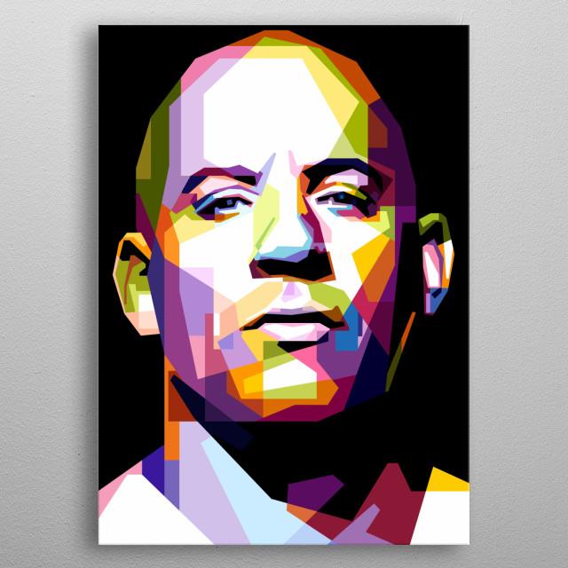 Portrait of Vin Diesel. metal poster