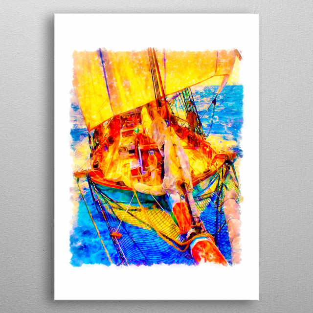 Welcome aboard sailing yacht. The drawing is made in watercolor in bright color. metal poster