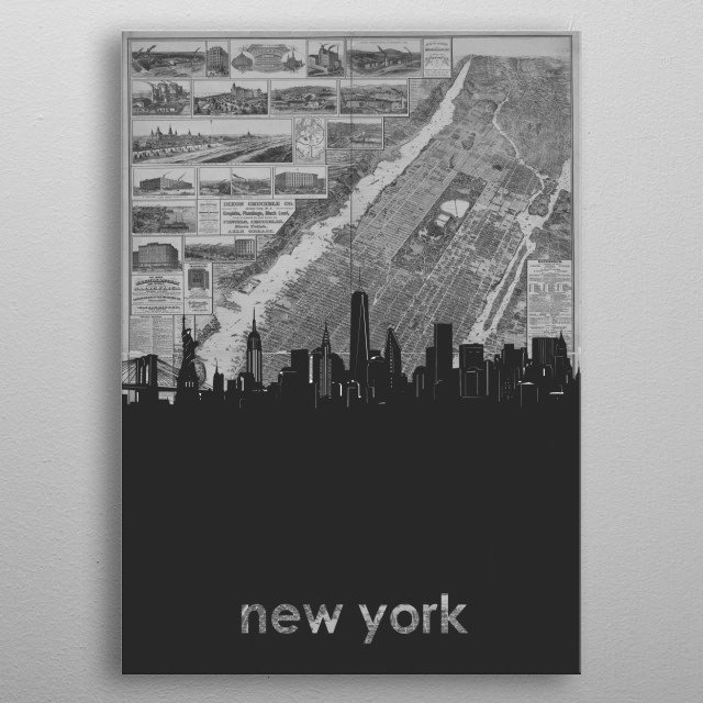 New York skyline inspired by decorative,grey,vintage,cartography,black and white,monochrome pop art design metal poster