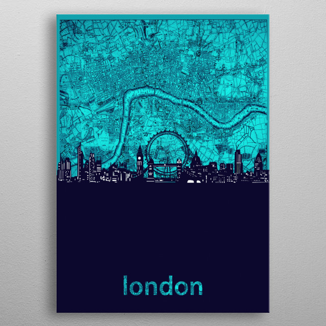 London skyline inspired by decorative,vintage,turquoise,cartography,pop art design metal poster