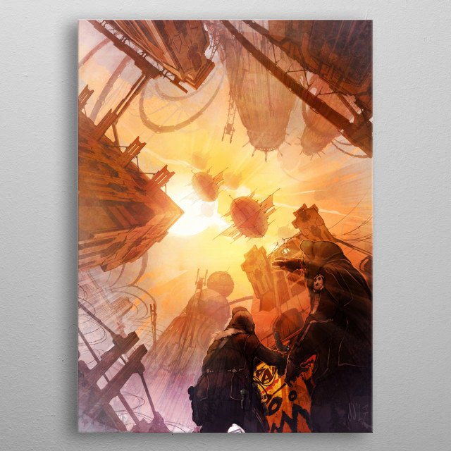 Two vandals look overhead as a martian fleet bathed in skylight, catch their attention. metal poster