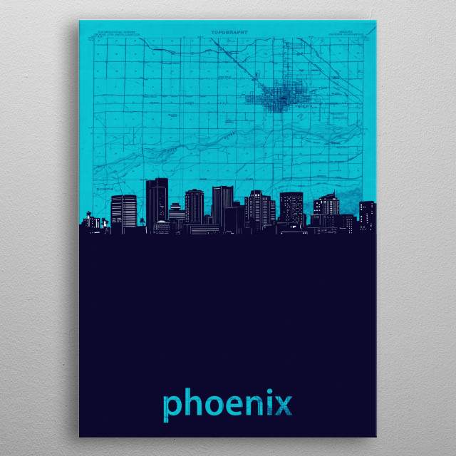 Phoenix skyline inspired by decorative,vintage,turquoise,cartography,pop art design metal poster