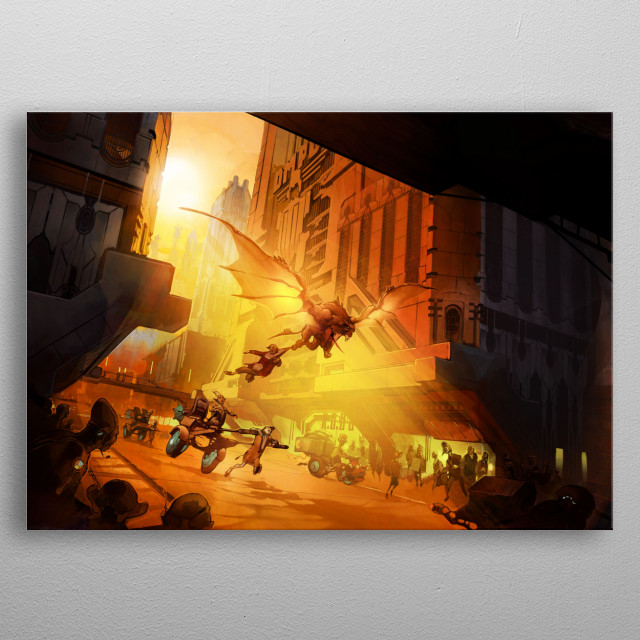concept illustration of winged martian monster abducting a human being metal poster