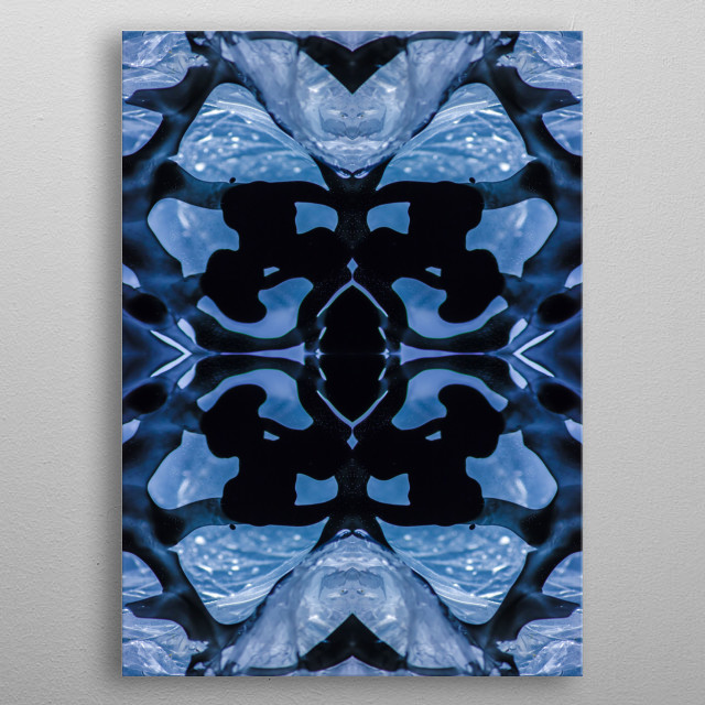 Collage of photography. Black spots in blue water. metal poster
