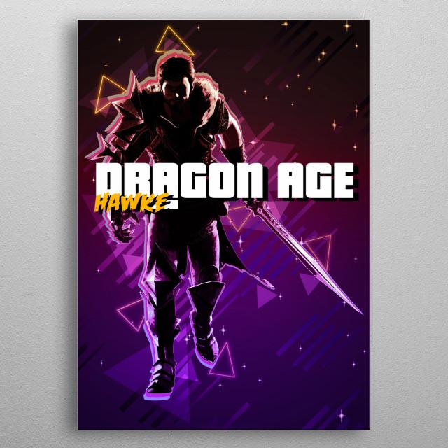 Dragon Age Hawke retro metal poster