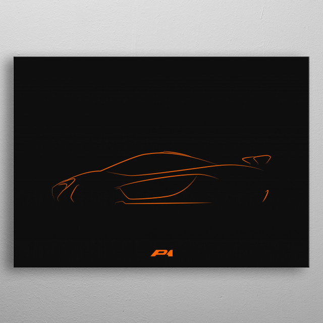 Minimalistic shapes of the Mclaren P1 metal poster