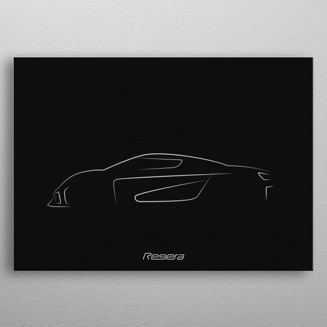 Minimalistic shapes of the Koenigsegg Regera metal poster