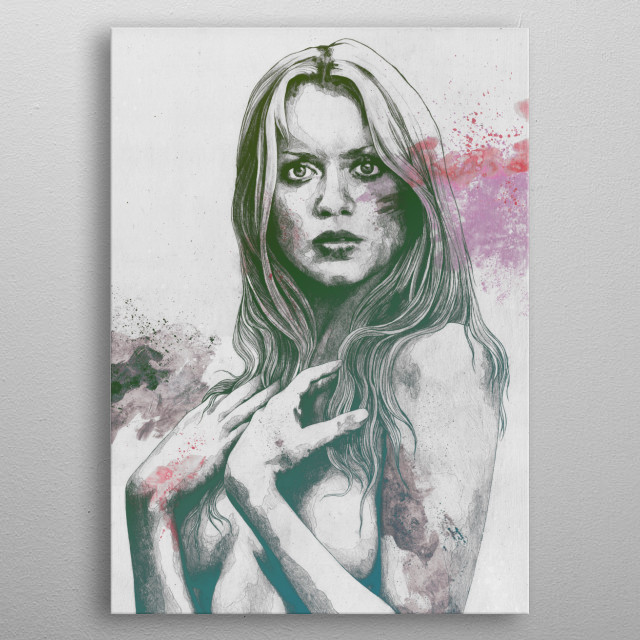 Semi nude portrait of Gloria Guida, italian actress and sexy icon of '70s, drawing in a minimal sketch style. metal poster