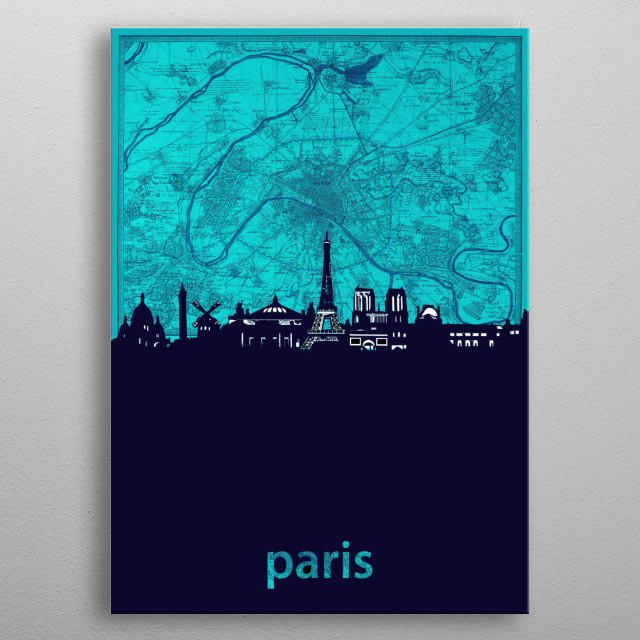 Paris skyline inspired by decorative,vintage,turquoise,cartography,pop art design metal poster