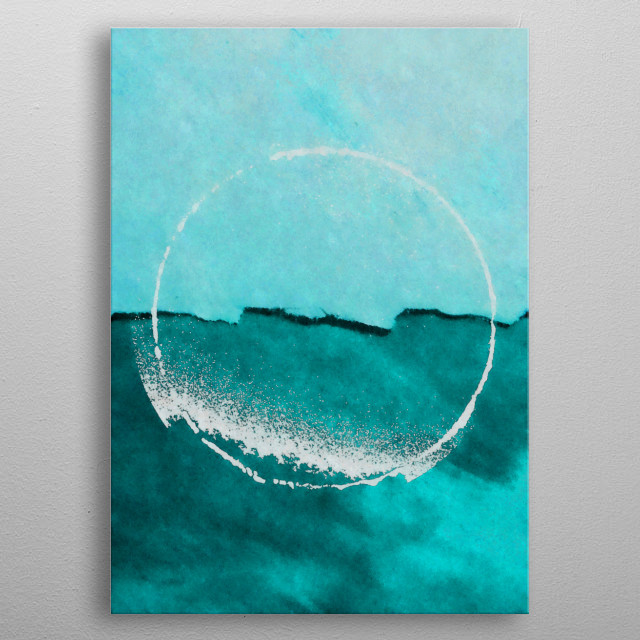 This is a minimalist watercolor painting of the sea. metal poster